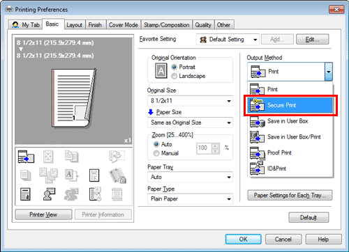 Overview of how to access the secure print feature