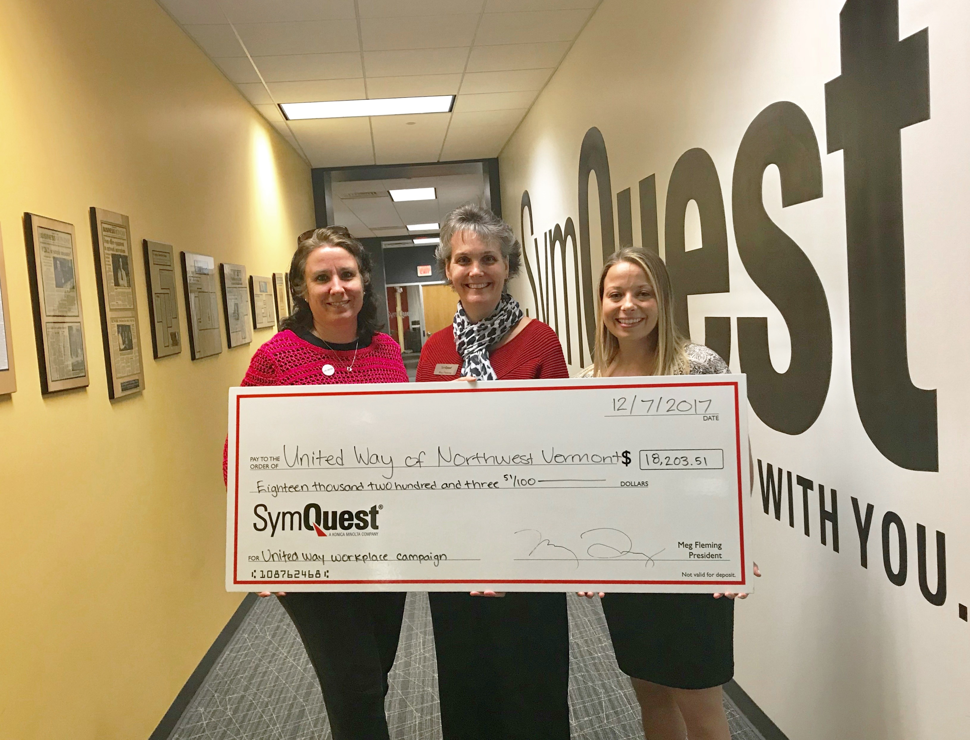 SymQuest Raises More Than $18,000 for the United Way